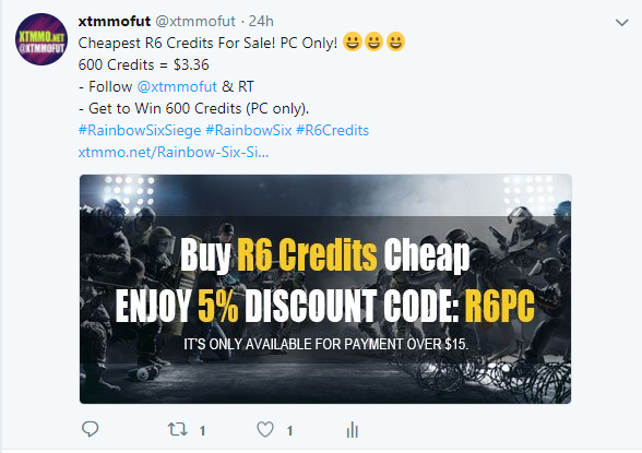 Free R6 Credits PC Giveaway at Xtmmo Official Twitter - Xtmmo net